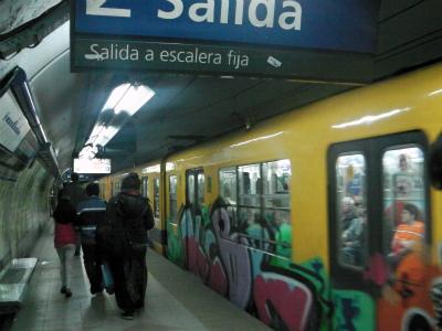 アルゼンチン、ブエノスアイレスの地下鉄に乗る